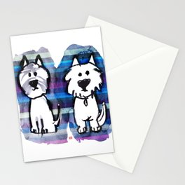 Two very serious Westies Stationery Cards