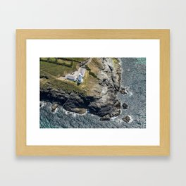 Arial views over Trevose Lighthouse, Cornwall Framed Art Print