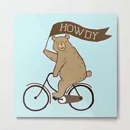 Friendly Neighborhood Bicycle Bear Metal Print