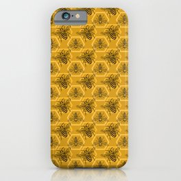 Honey Bees on a Hive of Hexagons iPhone Case