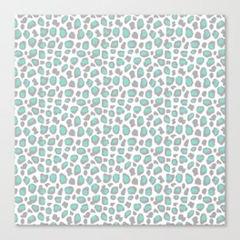 Leopard Animal Print Aqua Blue Gray Grey Spots Canvas Print