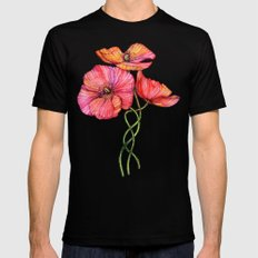 Peach & Pink Poppy Tangle Black Mens Fitted Tee MEDIUM