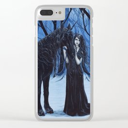 Midnight Travelers Gothic Fairy and Unicorn Clear iPhone Case
