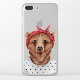 B is for a Brown Bear in a Bandana | Watercolor Animal | Art Print Clear iPhone Case