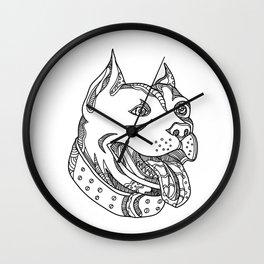 Pit Bull Head Doodle Art Wall Clock