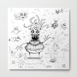 Happy Squid Boy and Friends sketch Metal Print