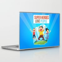 super heroes Laptop & iPad Skins featuring Super Heroes Love People by youngmindz
