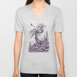 BLUE RIDGE OAK AND MY FANTASY CABIN ON THE HILL Unisex V-Neck