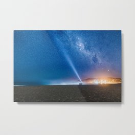 Coastal Lights and the Night Sky Metal Print