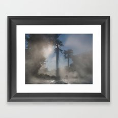 Palm trees in the fog Framed Art Print