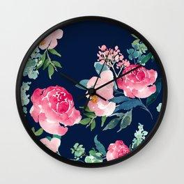 Navy and Pink Watercolor Peony Wall Clock