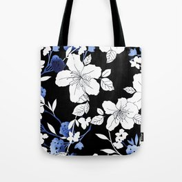 Black White Blue Floral Tote Bag