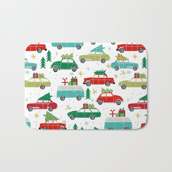 Christmas holiday vintage cars classic festive christmas tree snowflakes winter season Bath Mat