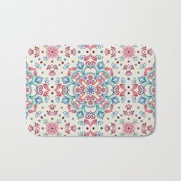 Pastel Blue, Pink & Red Watercolor Floral Pattern on Cream Bath Mat