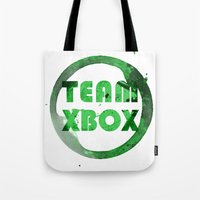 xbox Tote Bags featuring Team XBox by Bradley Bailey