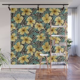 Yellow Hibiscus with Zebra Stripes Wall Mural