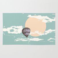 hot air balloon Area & Throw Rugs featuring Hot Air Balloon by mattholleydesign