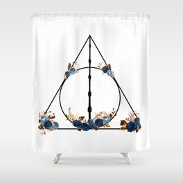 Deathly Hallows in Blue and Brown Shower Curtain