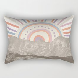 Summerlin Mountain Up // Abstract Vintage Mountains Summer Sun Surf Beach Vibe Drawing Happy Wall Ha Rectangular Pillow