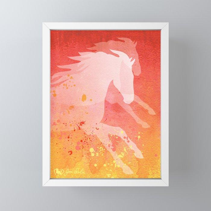 Horses Running Red-Orange Watercolor Framed Mini Art Print