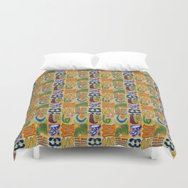 Narrative and Symbolic Signs Pattern Duvet Cover