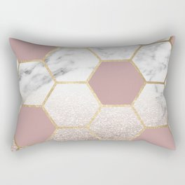 Cherished aspirations rose gold marble Rectangular Pillow