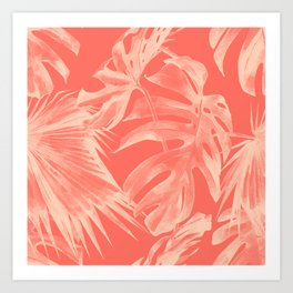 Living Coral Tropical Palm Leaves Monstera Kunstdrucke