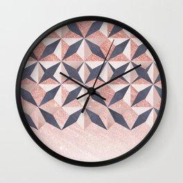 Trendy coral gray faux gold glitter geometrical pattern Wall Clock