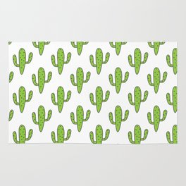 Hand painted green black white floral cactus Rug
