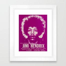1969 Jimi Hendrix Concert Handbill Poster, Will Rogers Colosseum, Ft. Worth, Texas Framed Art Print