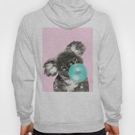 Playful Koala Bear with Bubble Gum in Pink Hoody