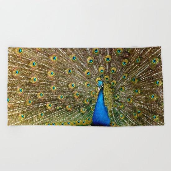 Peacock Spreading Feathers Beach Towel