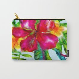 Electric Pop Tropical Flowers Carry-All Pouch