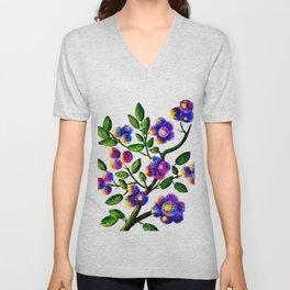 Blue Pink Yelow Flower Branch Clip Art Unisex V-Neck