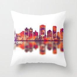 Stamford Connecticut Skyline Throw Pillow