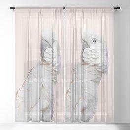 Cockatoo Parrot Photography | Blush Pink | Peach | Happy | Tropical | peek-a-booFun | Paradise Sheer Curtain