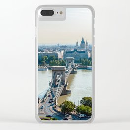 Aerial view of Chain Bridge and St. Stephen's Basilica - Budapest Clear iPhone Case
