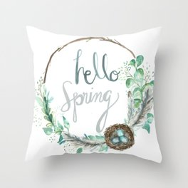 Hello Spring Eucalyptus Wreath with Nest Throw Pillow