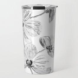 Black white orchids, kitchen decor, illustration Travel Mug