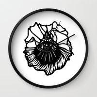 third eye Wall Clocks featuring Third Eye by Cecile Psicheer