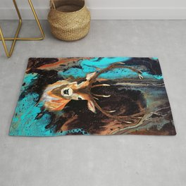 Watercolor Deer and Acrylic Pour Rug