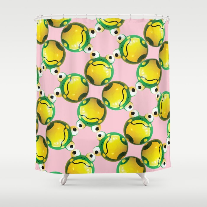 Frog Connection Pink Shower Curtain