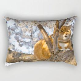 Ginger Cherry Blossom Cat Rectangular Pillow