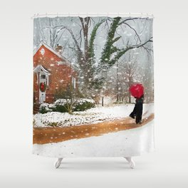 The Winter Cottage Shower Curtain