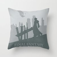 final fantasy Throw Pillows featuring Final Fantasy VII by [SilenceCorp.]