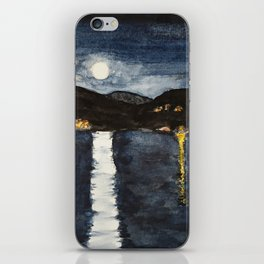 full moon by the sea iPhone Skin