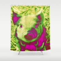 piglet Shower Curtains featuring Diabolic PIGLET by MehrFarbeimLeben