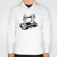 sewing Hoodies featuring Sugar Skull Sewing Machine by Wenchkin