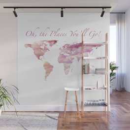 Cotton Candy Sky World Map - Oh, the Places You'll Go! Wall Mural
