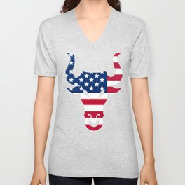 Brahma Bull Head American Flag Graphic Unisex V-Neck